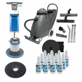 Industrial Floor Stripping & Recovery Package (Floor Buffer, Wet Vacuum, Pads & Stripping Solution)
