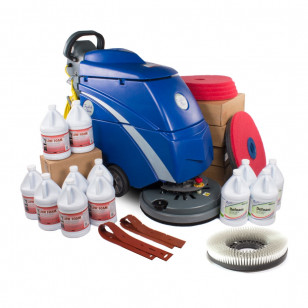 Trusted Clean Electric Floor Scrubbing Machine w/ Pads, Chemicals & Squeegees