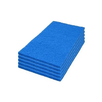 14 x 24 inch Blue Medium Duty Cleaning & Scrubbing Floor Pads - Case of 5